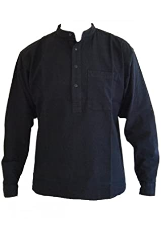 Black Grandad Collarless Shirt Cotton Sizes Small to 2XL: Amazon ...