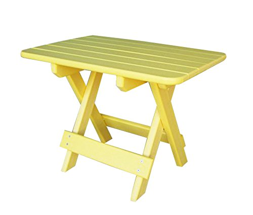Phat Tommy Recycled Poly Resin Folding Side Table – Durable & Eco-Friendly Patio Furniture matches Adirondack, Yellow Review