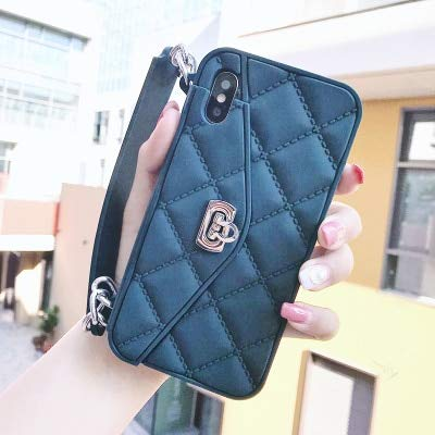 Maxlight Luxury Wallet Card Soft Silicon Phone Case Cover for iPhone Xs Max XR X 7 8 Plus Women Handbag Cases with Long Chain (Dark Green, for iPhone XR) (Iphone 4s Mickey Mouse Case)