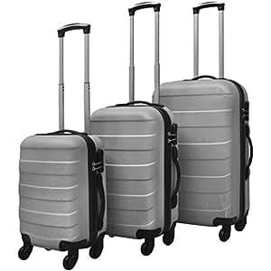 BEDDOM 3 Piece Hardcase Trolley Set Silver Luggage Bags Suitcases Hardcase Set Ergonomic Telescopic Handles