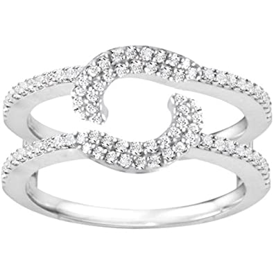 Amazon Com Sterling Silver Halo Ring Wrap Guard 0 37 Crt Cubic