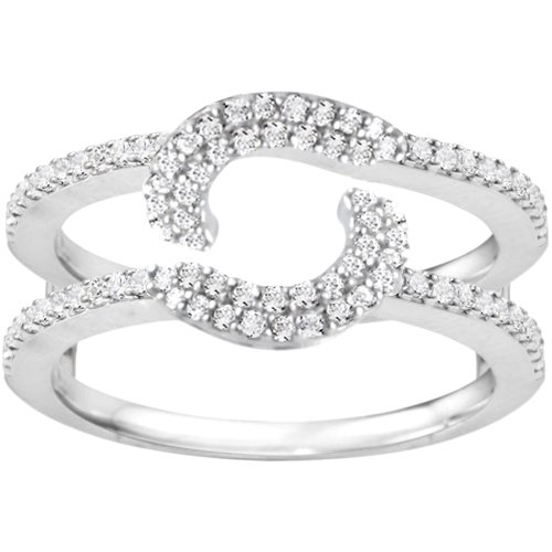 White Gold Halo Ring Wrap Guard (0.37 crt. Diamonds G-H I2-I3) by TwoBirch