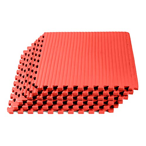 We Sell Mats Martial Arts & MMA Workout Mat, Tatami Pattern with EVA Foam, Interlocking Floor Tiles Tiles, Anti-Fatigue Support, 24 x 24 x 3/4 inch, Red, 16 Square Feet (4 Tiles) (Best Step Anti Fatigue Flooring)