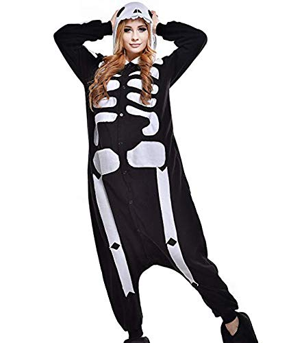 RECM Unisex Adult Skeleton Onesie Halloween Cosplay Costume Animal Pajamas Women S