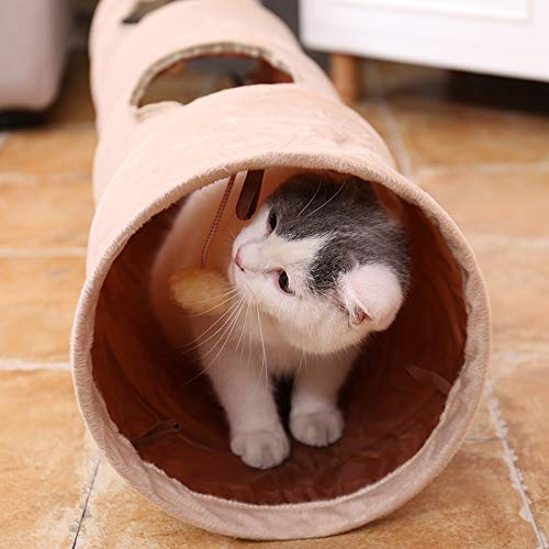 New Cat's Favorite Luxury Chamois Pet Cat Tunnel Crazy Shake Hanging Ball Expandable Cat Long Tunnel Kitten Play Toy Collapsible