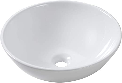 Lordear 13x13 Small Round Bowl Bathroom Vessel Sink Modern White Above Counter White Porcelain Ceramic Vessel Vanity Sink Art Basin