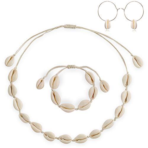 Shell Choker Necklace, Natural HandmadeAdjustable Seashell Beads Beach Cord Necklace Bracelet Earrings SetBohemian Boho Hawaiian Jewelry for Women Girls (Shell Necklace& Bracelet& Earring Set #1)