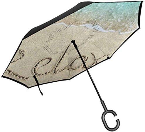 ビーチオーシャン ユニセックス二重層防水ストレート傘車逆折りたたみ傘C形ハンドル付き