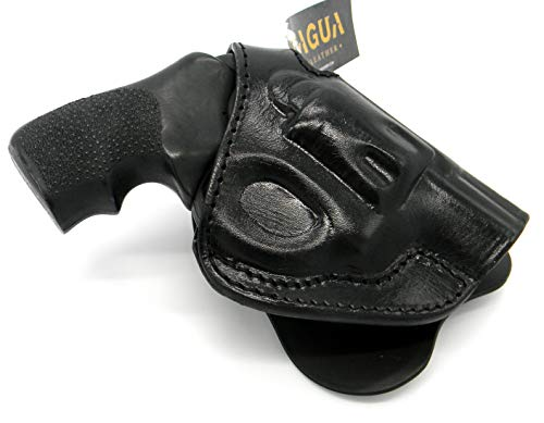HOLSTERMART USA TAGUA Premium Deluxe Right Hand Rotating Paddle and Belt Holster with Reinforced Thumb Break in Black Leather for Ruger LCR Revolver, 1.87