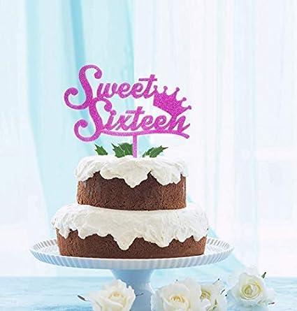 Strange Amazon Com Grantparty Sweet Sixteen Cake Topper Purple Glitter Funny Birthday Cards Online Barepcheapnameinfo