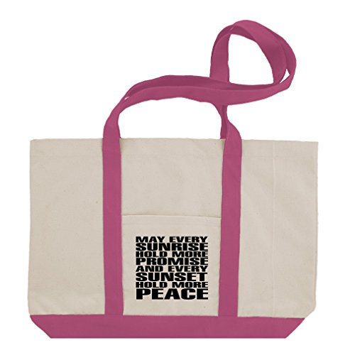 Sunrise And Every Sunset Hold More Peace Cotton Canvas Boat Tote Bag Tote - Hot Pink