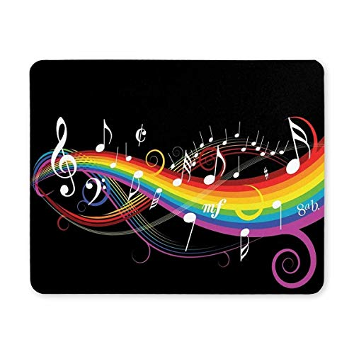 Gaming Mouse pad,Mouse pad Music Theme with Rainbow Mouse pad Non-Slip Rubber Mousepad Mat