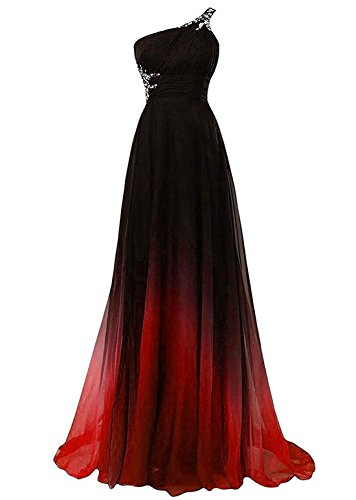 Women Gradient Color Chiffon Formal Evening Dress Wedding Pageant Long Prom Gown