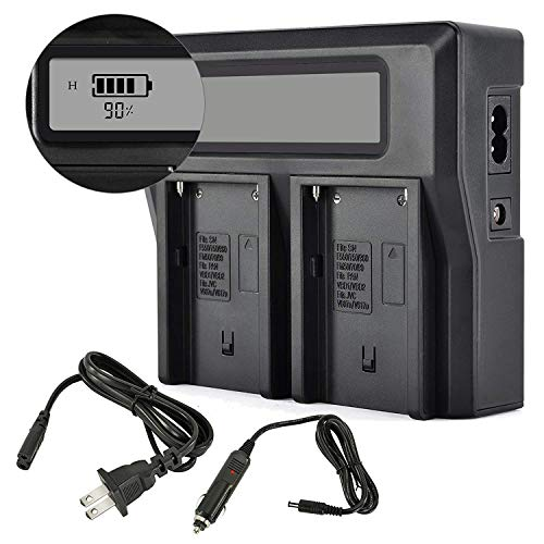 PHOTO MASTER NP-F970/F960/F930/F950 Dual LCD Charger Car Charging for Sony Camcorder, Sony CCD-TR Series, CCD-TRV Series, Sony DCR-TR Series, Sony DCS-CD, Sony MVC-FD Series, Video Light, ()