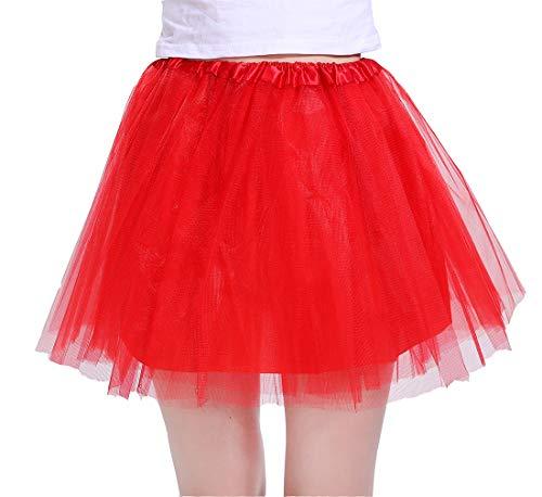 Red Tutu For Women - Women's Athletic Tutus Elastic 4 Layered