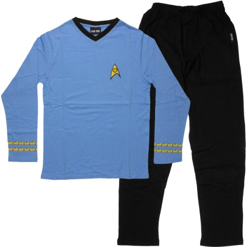 Star Trek Adult Spock Officer Uniform Blue Pajama Set (Star Trek Pajamas For Adults)