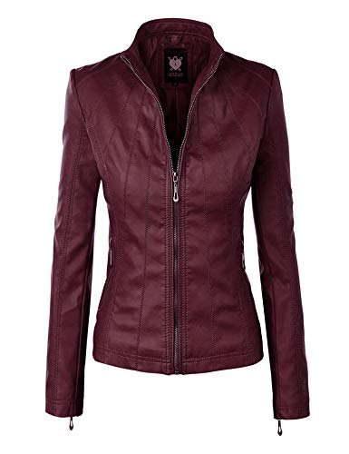 (Lock and Love LL WJC877L Womens Panelled Faux Leather Moto Jacket L Wine)