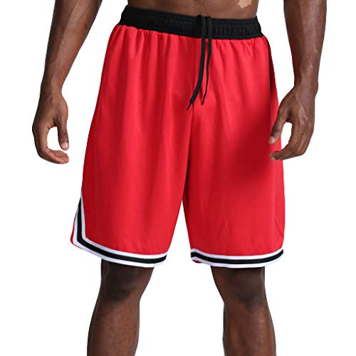 Seaintheson Men's Sports Shorts,Plus Size Gym Workout Pants Casual Loose Quick Dry Outdoor Sweatpants Beach Shorts for Men Red