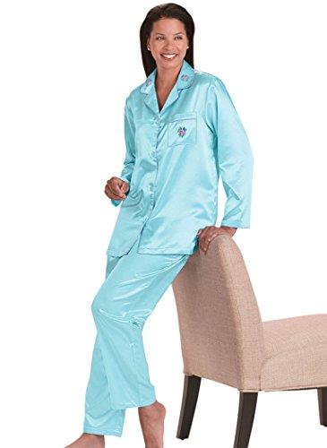 Brushed Back Satin Pajamas (AmeriMark Women's Brushed-Back Satin Pajamas MD (10-12) / Aqua)