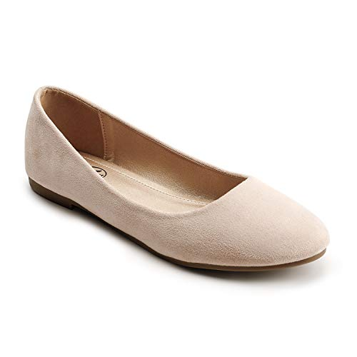 Trary Women's Classic Round Toe Slip on Ballet Flat Shoes Nude 07