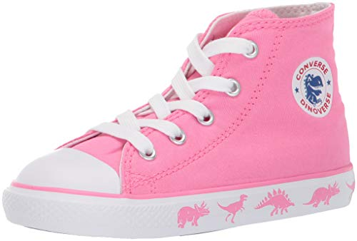 s' Chuck Taylor All Star Dinoverse High Top Sneaker, Pink White, 6 M US Toddler ()