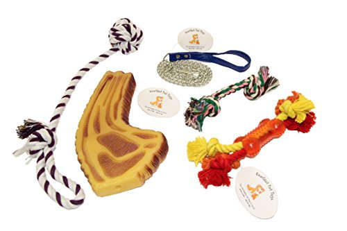 EMG Pet Emporium Dog Rope & Squeaker Bundle for Dogs | Steak Bone | Knotted Ball Puller | 3.5 ft Chain Leash | Guaranteed | Bone Teether | Double Knot ()