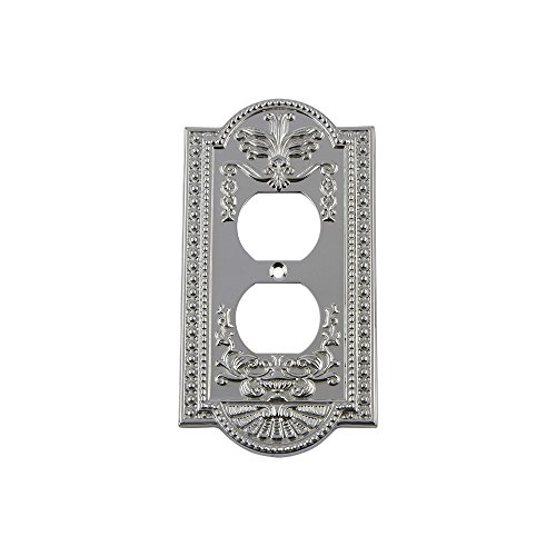 Nostalgic Warehouse 719860 Meadows Switch Plate with Outlet, Bright Chrome ()