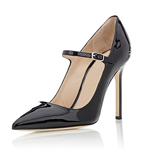 817c0f73a42a9c free shipping Eldof Women s 100mm High Heel Pointed Toe Mary Jane Pumps Ankle  Strap Buckle Closure