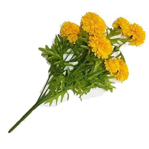 (Pack of 3),GoodGoodsThailand, Thai Artificial Yellow Marigold Bunch, Artificial flowers, Marigold flower, Yellow Flowers, Marigold Yellow, Calendula officinalis,(9 stem per 1 case) by GoodGoodsThailand