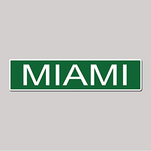 MIAMI City Pride Green Vinyl on White - 4X17 Aluminum Street Sign - Florida Marlins Sign
