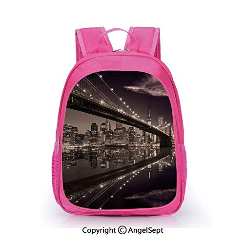 Hot Sale Backpack Casual Daypack,Brooklyn Bridge Sunset NYC View Skyline Tourist Attraction Modern City Decorative Pale Brown Dried Rose,15.7inch,Travel Outdoor Backpack For Boys And Girls