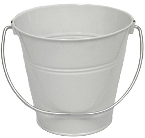 Tin Pail Bucket (6 pack Metal Bucket, Metal Bucket White Solid Colors 4.3x4