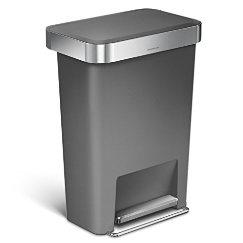Pedal Bin Liners - simplehuman 45 Liter/12 Gallon Rectangular Kitchen Step Trash Can with Liner Pocket, Grey Plastic With Stainless Steel Liner Rim And Step Pedal