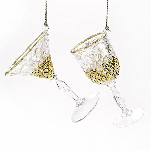 Caffco Martini and Wine Glass Hanging Christmas Ornament - Set of ()