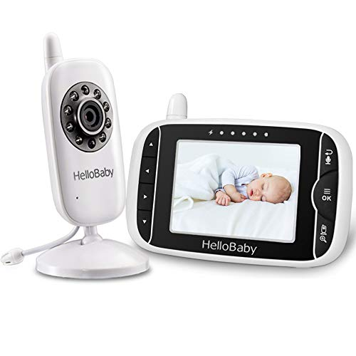 Video Baby Monitor with Camera Digital Color LCD Screen, Zoom and Infrared Night Vision, VOX, Alarm System, Long Transmission Range,Two Way Talk and Lullaby, HelloBaby (Black 3.2Inch Baby Monitor)