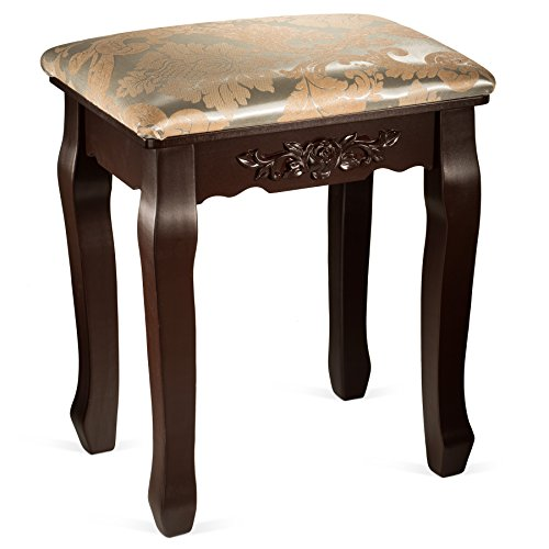 Fineboard Luxury Vanity Table Stool Wood Unique Shape Floral Crafted for Vanity Tables or Other Extravagant Tables with Artwork, Brown (Stool For Table Vanity)