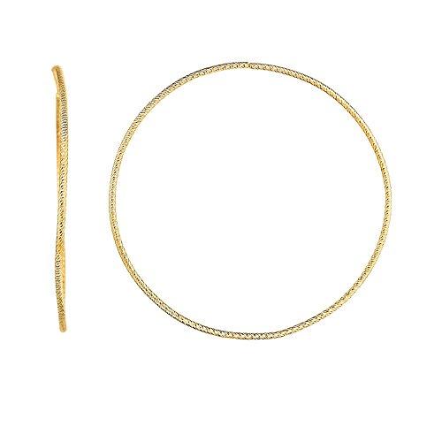 14k Yellow Gold 1x50mm Diamond-Cut Round Tube Fancy Hoop Earrings, 2.5gr.