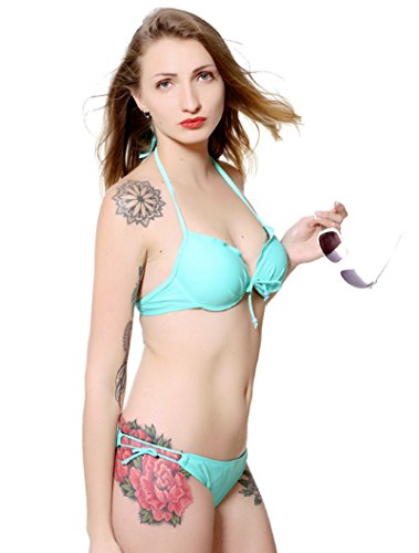 Hot US SIZE Solid XS-L Size Top Push-up Subtle Lift Underwire Woman Halter Bikinis Set Sexy Two-piece Suit Beach Swimwear (S, (Sexy Polar Bear Costume)