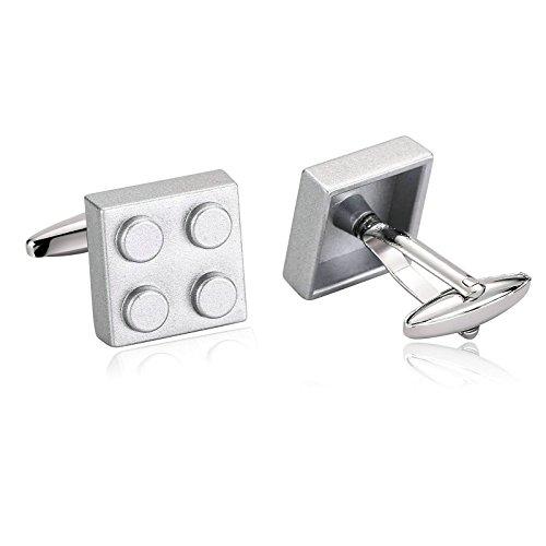Aooaz Cufflinks for Men Stainless Steel Cuffs Gray Fun 4 Building Blocks Pair Shirt 1.6X1.6CM Gray
