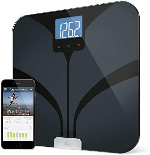 Weight Gurus Bluetooth Smart Connected Body Fat Scale w/ Large Digital Backlit LCD, Precision/Accurate Measurements include: BMI, Body Fat, Lean Mass, Water Weight, and Bone Mass