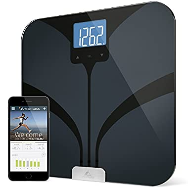 Bluetooth Smart Connected Body Fat Scale by Weight Gurus w/ Large Digital Backlit LCD, Precision/Accurate Measurements include: BMI, Body Fat, Muscle Mass, Water Weight, and Bone Mass
