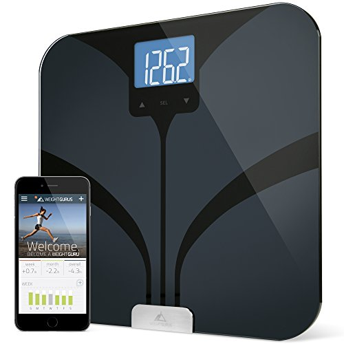 Weight Gurus Bluetooth Smart Connected Body Fat Scale w/ Large Digital Backlit LCD, Precision/Accurate Measurements include: BMI, Body Fat, Lean Mass, Water Weight, and Bone Mass (Scale Men)