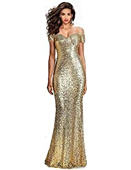 SUMINTRAS Fabulous Sequined Off-The-Shoulder Sweetheart Sequin Long Formal Form Fitting Prom Evening Dress