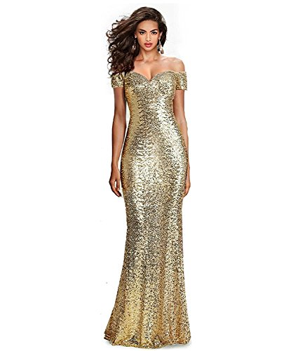 Fabulous Sequined Off-The-Shoulder Sweetheart Sequin Long Formal Form Fitting Prom Evening Dress (4, Gold)