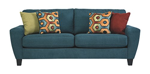 Fabric Upholstered Queen Sleeper (Ashley Furniture Signature Design - Sagen Sleeper Sofa - Queen Mattress - Contemporary - Teal)