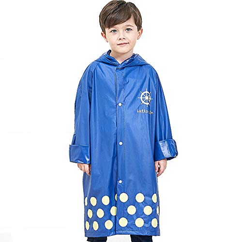 Ultrafun Kids Rain Ponchos Reusable Emergency Hooded School Raincoats for 6-12 Years Boys Girls(Large)