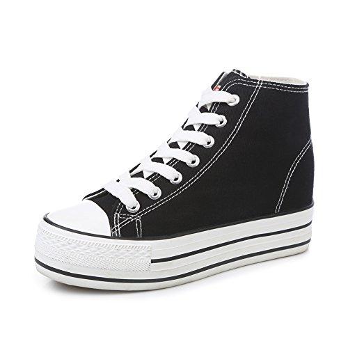 zapatos de lona de mujeres/Zapatos alta minimalistas clásico de otoño/Mayor plataforma de zapatos blancos poco sigilo E