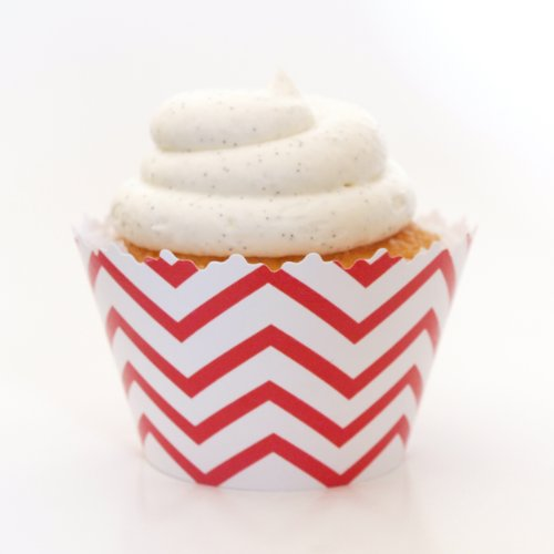 Red Chevron Cupcake Wrapper - Set of 12 - Party Decorating Ideas for Birthday, Graduation & (Bbq Decorating Ideas)