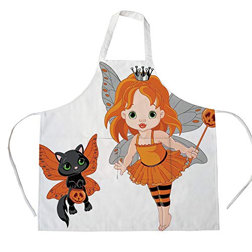 iPrint Cotton Linen Apron,Two Side Pocket,Halloween,Halloween Baby Fairy and Her Cat in Costumes Butterflies Girls Kids Room Decor Decorative,Multicolor,for Cooking Baking Gardening -