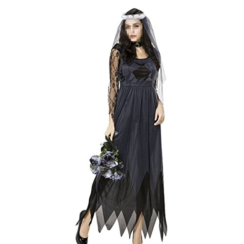 H&ZY Women Zombie Ghost Costume Veil Gothic Halloween Corpse Countess Dress (Corpse Countess Halloween Costume)